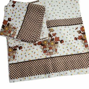 Handmade Kitchen Curtains Valance Tiers Quilted Basket Flowers Kitchen Core